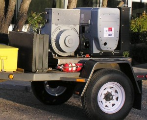 Trailer mounted generator with optional silent pack