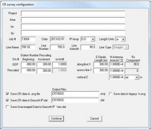 Metadata editor for Complex Resistivity surveys and interface to Geosoft IP Dat file format